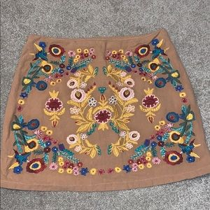 Umgee embroidered Aztec floral skirt, NEW, large